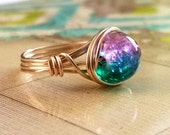 Wire Wrapped Ring, Galaxy Ring, Nebula Ring, 14kt Gold-Filled Wire Wrapped Jewelry Handmade