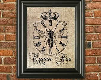 Items Similar To Queen Bee On Burlap Framed Print Wall