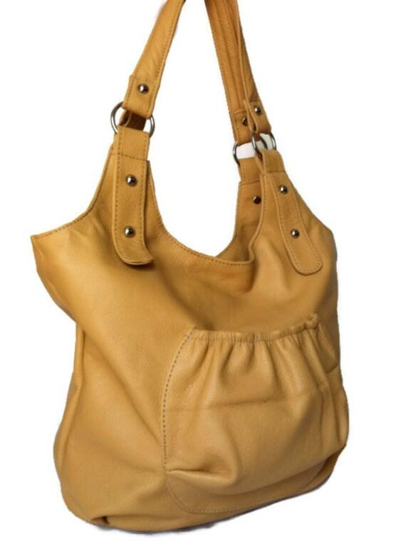 Genuine cream beige  leather purse tote shoulder handbag handmade