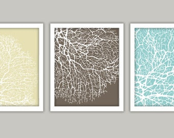 Sea Coral Art Print Set, Blue Brown & Cream - 5x7""