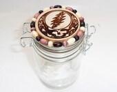 X Large Glass stash jar with wood burned & beaded lid