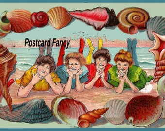 DIGITAL Download,VINTAGE Postcard Bathing Beauties on the BEACH Shell Border