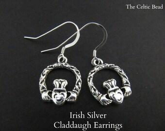 Silver Irish Claddaugh Earrings