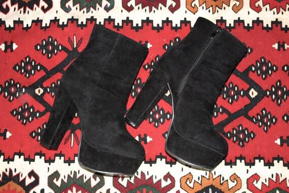 faux suede black platform plateau ankle boots by. Black Bedroom Furniture Sets. Home Design Ideas
