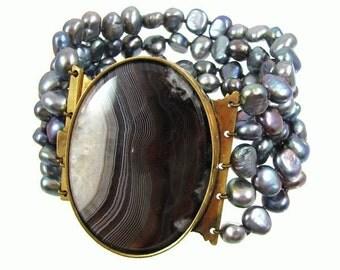 Basia Zarzycka Pearl Antique Victorian Clasp Bracelet
