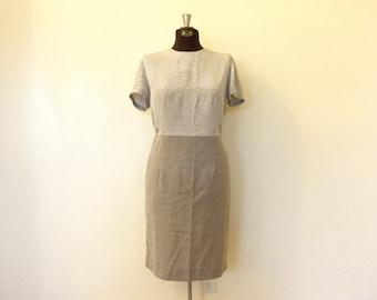 Vintage Dress / Medium/Large Dress / Grey Dress