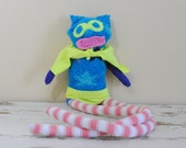 Unique and Whimsical Sock Animal Superhero, Hand-Stitched, Made from all reclaimed clothing, Hipster Plush Toy, Sustainable Gift, OOAK