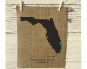 Florida Map, Burlap State Map, Burlap Art, Personalized Burlap Wall Art, Frame not included, Housewarming Gift, Room Decor, Wedding Gift