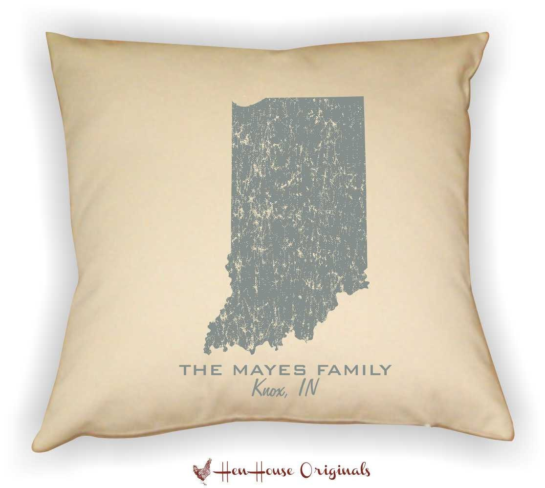 Decorative Pillows With States : Indiana State Decorative Pillow Cover Personalized with Your
