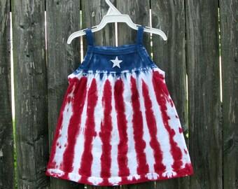 Infant/Toddler/Girls stars and stripes tie-dye sleeveless dress