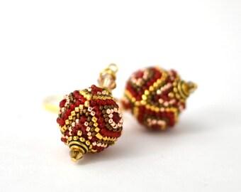 Vinyard - Gold plated Earrings Beaded Earrings Beaded Bead 24K Japanese seed beads Luxury Style Red Gold Beadwork Jewelry