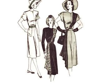 1940s Evening Gown Pattern, Butterick 4129, Asymmetrical Drape, Diagonal Cascade From Shoulder to Hem, Vintage Sewing Pattern, Bust 32