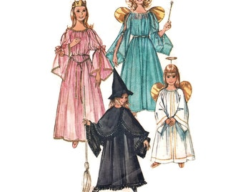 Vintage 1970 Sewing Pattern - Girl's Halloween Costumes: Witch, Princess, Fairy Godmother, Angel with Halo - Simplicity 9052, Medium 6-8
