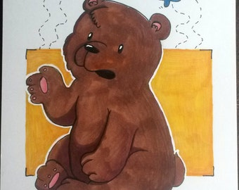 Bear with Butterflies sketch card 100mm x 148mm
