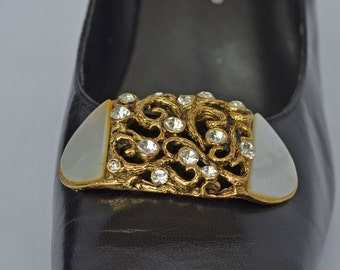 18kt GP MUSI Shoe Clip Rhinestones Faux Mother of Pearl 1980s