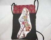 Small Bag- Dia de los Muertos  w/ zipper Hangs around neck