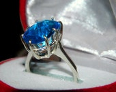Ring With Big Stone, Middle Finger Ring, Blue Stone  Ring,   Oval Stone Ring