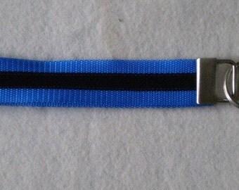 Black on Blue Keychain Wristlet