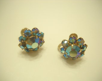 Vintage Blue Aurora Borealis Screwback Earrings (2030)