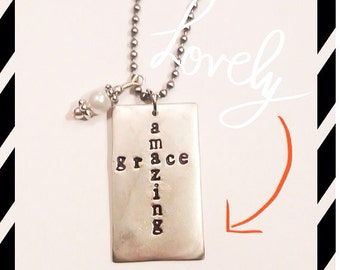 Hand stamped Amazing Grace necklace
