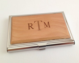 Personalized Business Card Holder,  Wood Business Card Case, Going Away Coworker Gift