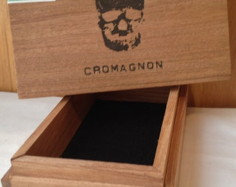 Cigar Box Wooden Decorated Men's Organizer, Accessory Box, Upcycled, Recycled by CJW