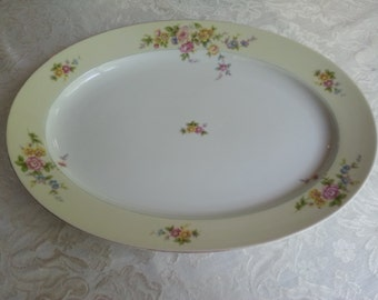 Gorgeous Large Vintage Platter, Pink and Yellow Roses, made in Japan, 1950's