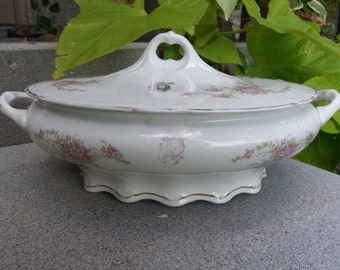 Antique Knowles Taylor Knowles Covered Serving Dish, Monogrammed China, Gorgeous Piece, Shabby Chic