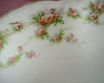 """Vintage Platter Homer Laughlin Hudson Shabby Cottage Chic Pink Rose 15"""" x 11 1/2"""" Vintage Wedding Bridal Shower"""