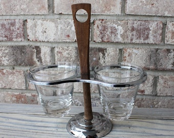 vintage Kromex two dish glass chrome wood server