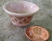 Antiqued, Pink, Miniature Salad Bowl with Traditional Olive Brown Diamond Pattern