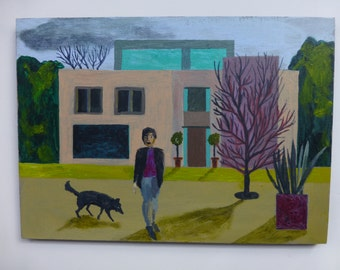 House Dog - origional painting on wood - ready to hang