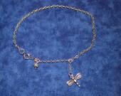 Dragonfly Ankle Bracelet, Anklet, Nickel Free Silver Dragonfly, 1/2 in. Dragonfly Charm Anklet