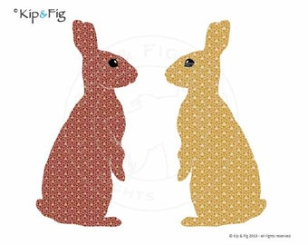 Bunnies on watch applique template - pdf applique pattern