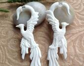 "Fake Gauge Earrings, ""Phoenix (Firebird)"" Bone, Naturally Organic, Hand Carved, Tribal"
