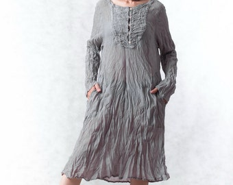 NO.133 Light Grey Cotton Bib Front Tunic, Long Blouse, Long Sleeves Dress, Dress, Day Dress