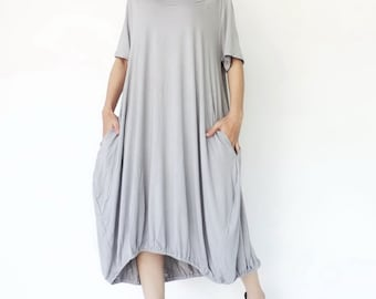 NO.152 Light Grey Rayon Spandex Baloony Tunic Dress, Day Dress