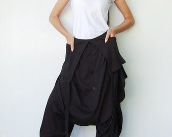NO.84 Black Cotton Jersey Cool Unique Asymmetric Harem Pants, Trendy Unusual Trousers, Jumpsuit