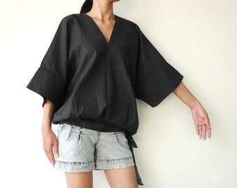 NO.13  Black Cotton V-Neck Top