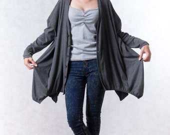 NO.155 Dusty Gray Cotton-Blend Jersey Cardigan Slouchy Pattern Top