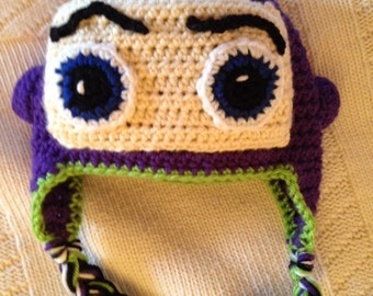 Cabbage Patch Knit Hat With Fringe And Pigtails Pattern : Buzz Lightyear Inspired Crochet Hat, Disney hat, Perfect for dress up!