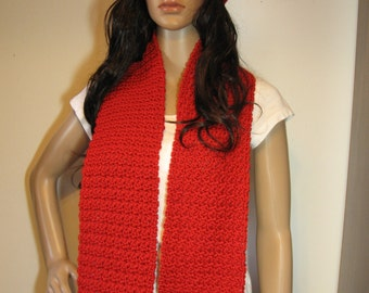 Handmade Crochet Hat and Scarf Set - Woman's Hat and Scarf Set - Red - Ready To Ship!