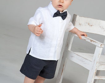 Baby boy ring bearer outfit Boy linen suit Baptism white shirt gray shorts First birthday outfit Rustic wedding boy formal suit Boy photo