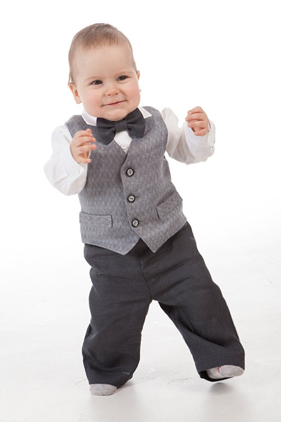 Baby Boy Ring Bearer Gray Outfits Boy 1st Birthday Linen Suit