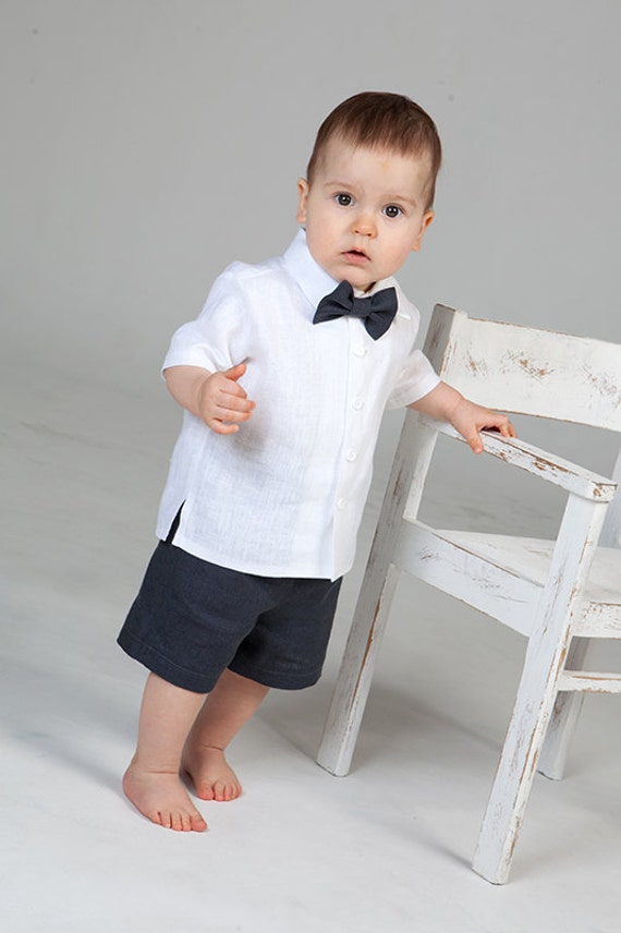 Baby Boy Ring Bearer Outfit Boy Linen Suit Baptism White Shirt