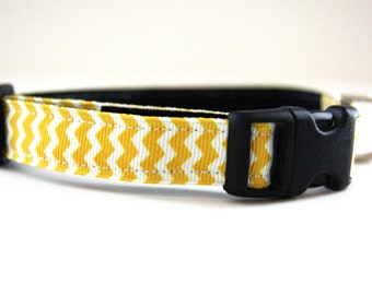 Yellow Chevron Dog Collar Adjustable Sizes (XS, S, M)