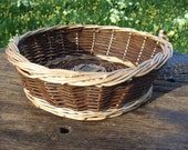 Striking Contrast Willow Table Fruit Basket, Chocolate and honey cream,  Round, PRICE REDUCED, Slight SECOND,