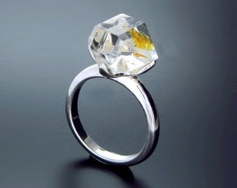 Herkimer Diamond Ring Engagement Silver 14K 18K white yellow Gold, Enhydro Quartz, Gift idea SKU1862