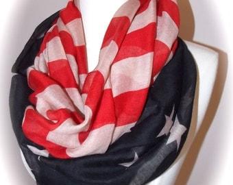 Vintage American flag scarf/patriotic scarf/flag infinity scarf