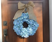 Reserved listing for Corey - Two (2) Blue Hydrangea Wreath with Burlap Ribbon